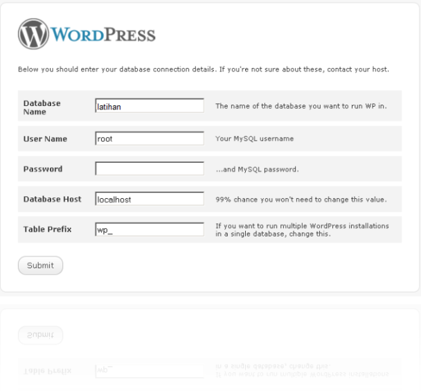 tampilan instal wordpress