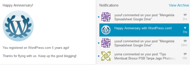 happy annivrsary dari wordpress