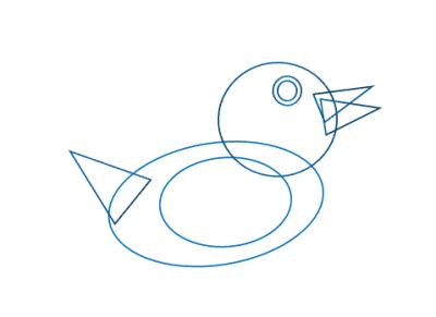 sketsa karakter animasi bebek di powerpoint