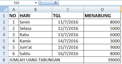 contoh tabel di excel 5