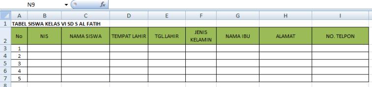 contoh tabel di excel 8