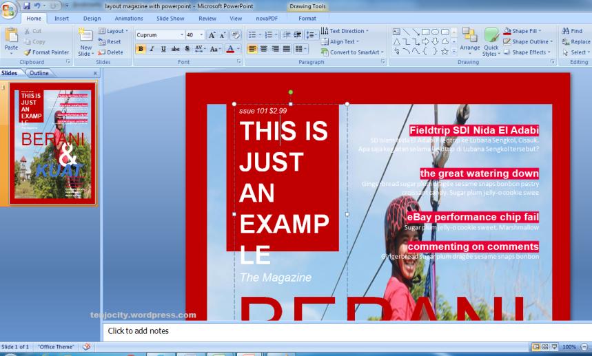 membuat disain majalah dengan powerpoint