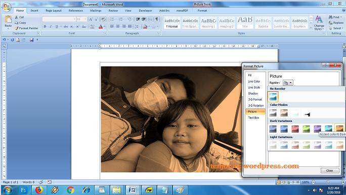 merubah warna photo di microsoft word menggunakan menu recolor
